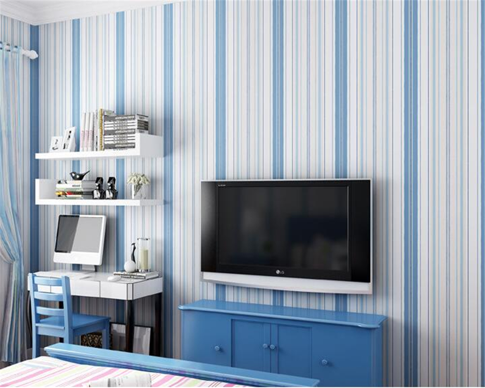 Beibehang The Mediterranean blue stripe wallpaper The bedroom  Children room sitting room background wall paper 3d wallpaper custom baby wallpaper snow white and the seven dwarfs bedroom for the children s room mural backdrop stereoscopic 3d