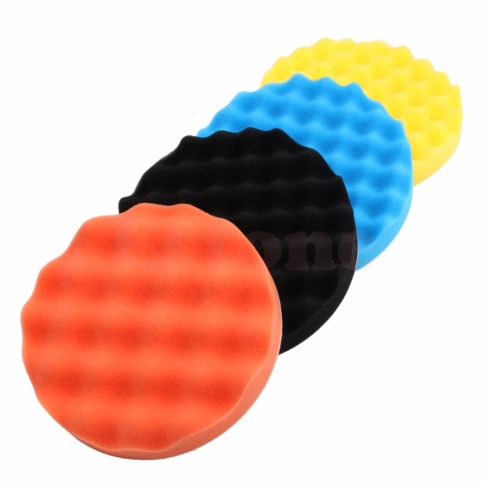 4pcs/Set 3/4/5/6/7 Inch Buffing Sponge Polishing Pad Hand Tool Kit For Car Polisher Wax MY16_35 spta 4 100mm genuine wool buffing ball polishing pad ball hex shank turn power drill or impact driver high speed polisher