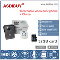 ASDIBUY megapixel waterproof wall mouting wireless video door phone with 32GB Micro SD card and indoor machine included