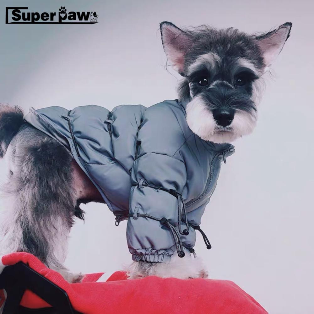 Mode 3M cordon réfléchissant chien doudoune animaux de compagnie chiens manteau d'hiver marée marque Schnauzer bouledogue français Teddy à capuche carlin GMC05