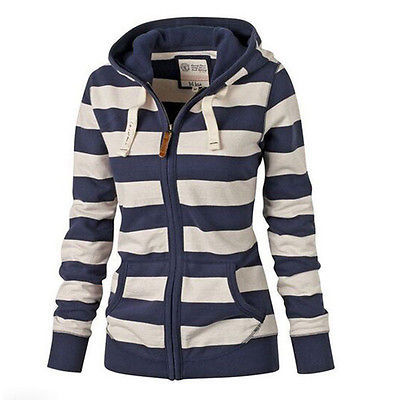 Women's Zip Up Striped Hoodie