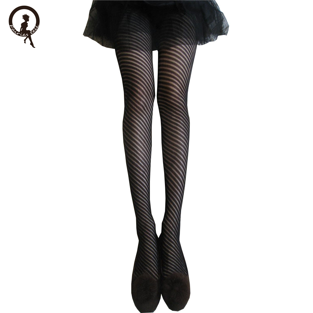 02b45e8d54a Fairies tell Fashion Women s Tights Net Fishnet Body stockings Stripe  Pattern Printed High Pantyhose Stockings for female ST87-in Tights from  Underwear ...