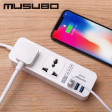Musubo Fast Phone Charging 3 USB For iPhone 5 6 7 8P Chargers + 2 Sockets Standard Plug Smart Home Electronic Power Strip Socket original xiaomi 3 usb charging hub mini power strip with 3 sockets standard plug