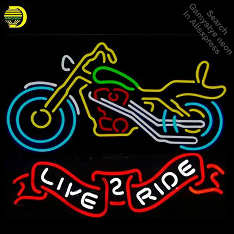 Neon Signs for Motorcycle Live 2 Ride Neon Bulbs sign Real Glass Tube Decorate Wall neon light maker Signboard dropshipping image
