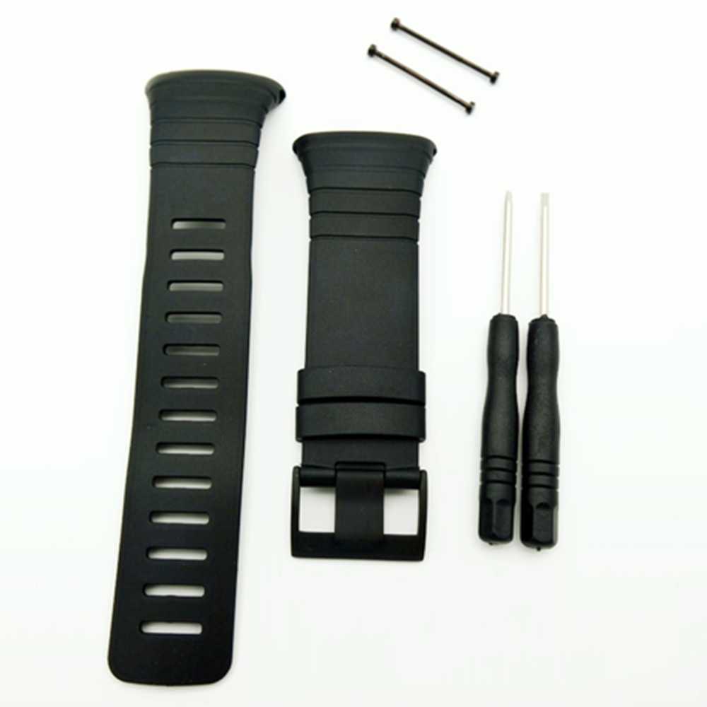 New watchband For SUUNTO CORE Series 35mm Black Men <font><b>Watch</b></font> <font><b>Strap</b></font> Waterproof rubber <font><b>Strap</b></font> <font><b>Watch</b></font> Band+Screwbars+Black <font><b>PVD</b></font> Buckle image