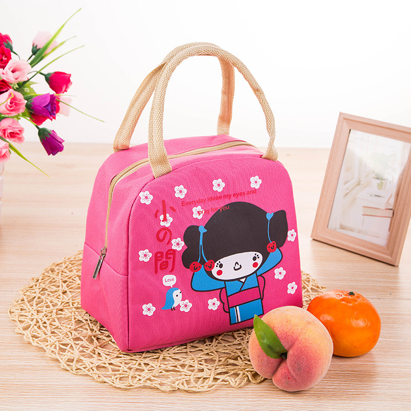 New Arrival Cute Cartoon Zipper Cooler Insulated Lunch Bag Creative Tote Pink Food Bag Box For Women Girl