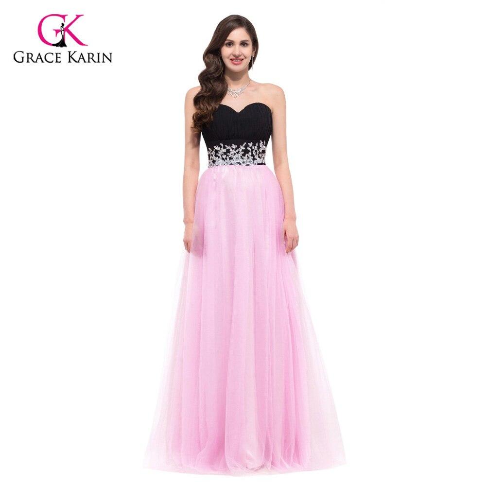 Vestido de noche 2018 Grace Karin negro y rosa gasa sin tirantes + ...