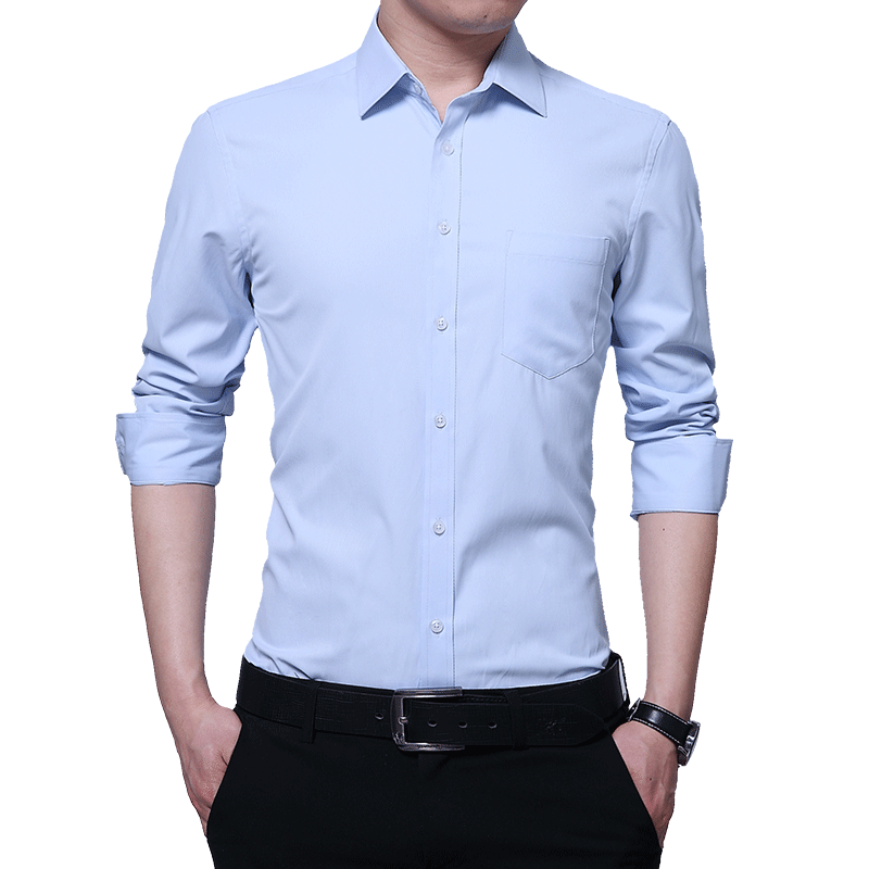 Loldeal 2018 Classic Men Solid color free Dress Shirt Long Sleeve Turn-down Collar Regular-Fit Mens Business Office Shirts