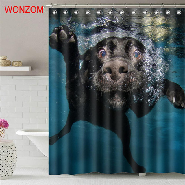 . US  12 35 50  OFF WONZOM Frog 3D Waterproof Shower Curtain Polyester  Bathroom Decor Dog Decoration Cortina De Bano Red Crowned Cranes Bath  Curtain in
