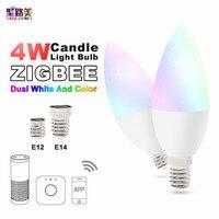Free shipping AC100 240V E12/E14 Zigbee zll led 4W RGB+CCT candle light bulb Lamp Smart Phone APP control work with Amazon Echo