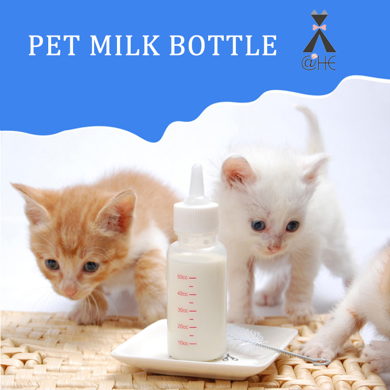 @HE Pet Milk Bottle Puppy Kitten Feeding Bottle Dog Cat Bady Nursing Water Milk Feeder With Cleaning Brush