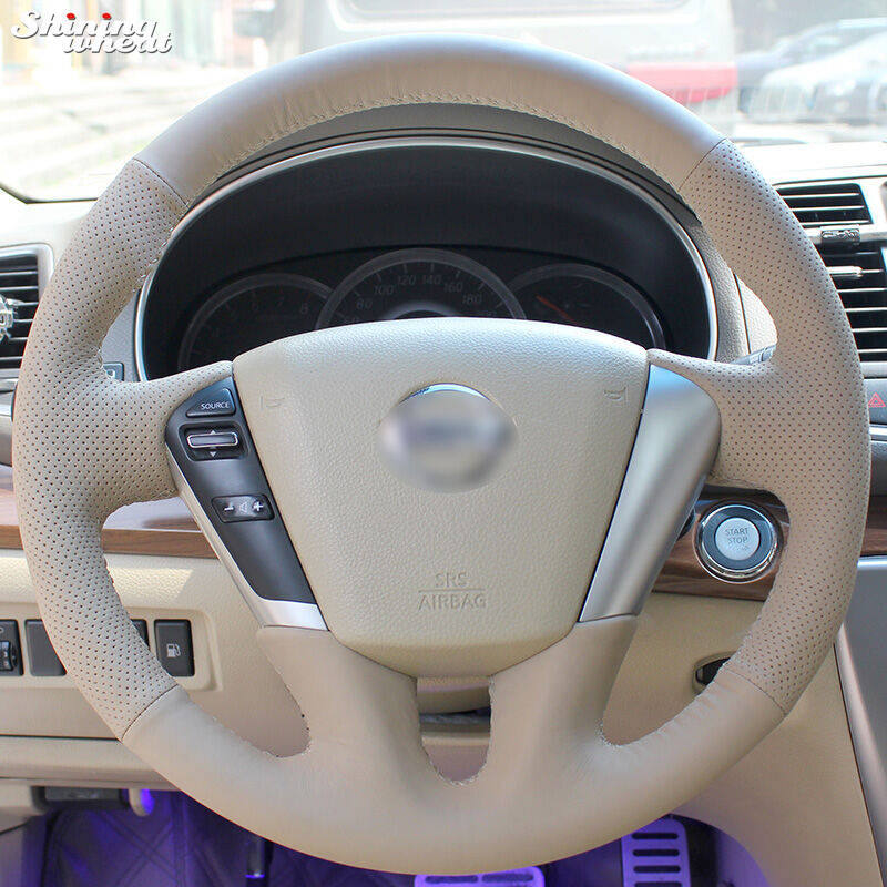 Shining wheat Beige Leather Hand-stitched Car Steering Wheel Cover for Nissan Teana 2008-2012 Murano 2009-2014