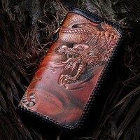 Мастер работает Пояса из натуральной кожи Женские Кошельки Вырезка Дракон Тигр кошельки Для мужчин длинные клатч растительного дубления к