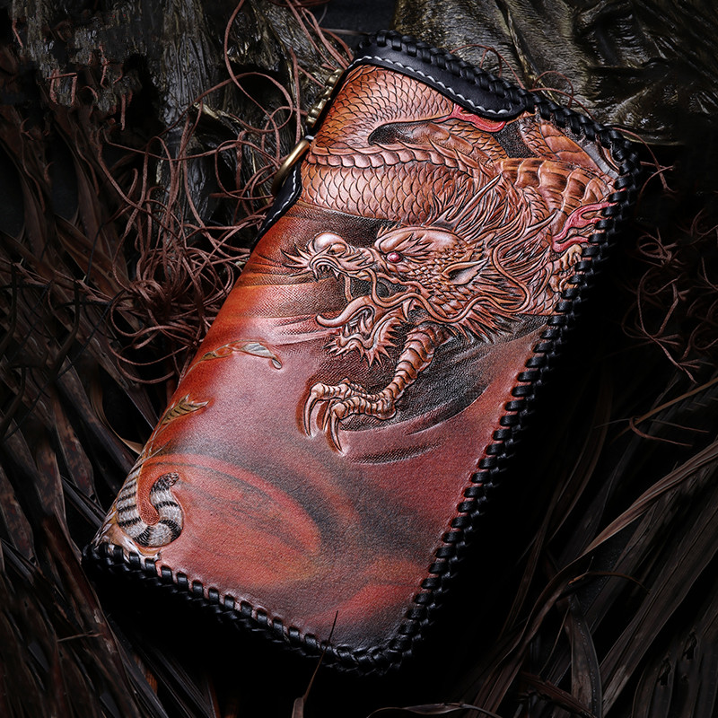 Master Works Genuine Leather Wallets Carving Dragon Tiger Purses Men Long Clutch Vegetable Tanned Leather Wallet Card Holder цена