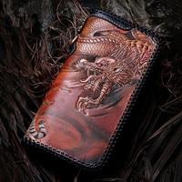 Master Works Genuine Leather Wallets Carving Dragon Tiger Purses Men Long Clutch Vegetable Tanned Leather Wallet Card Holder