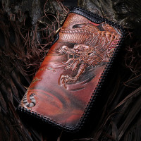 Master Works Genuine Leather Wallets Carving Dragon Tiger Purses Men Long Clutch Vegetable Tanned Leather Wallet Card Holder