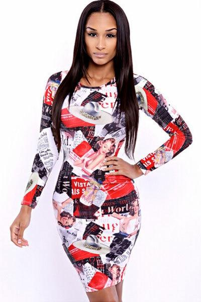 701815f61c Fashion Autumn Dress Free Shipping Sexy Print Dress S M L 3S2306 Celebrity  Magazine Fashion Women Dress In Big Discount