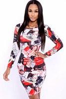Moda Otoño vestido de envío de la manera imprimir vestido SML 3S2306 revista de celebridades mujeres de la manera en descuento grande