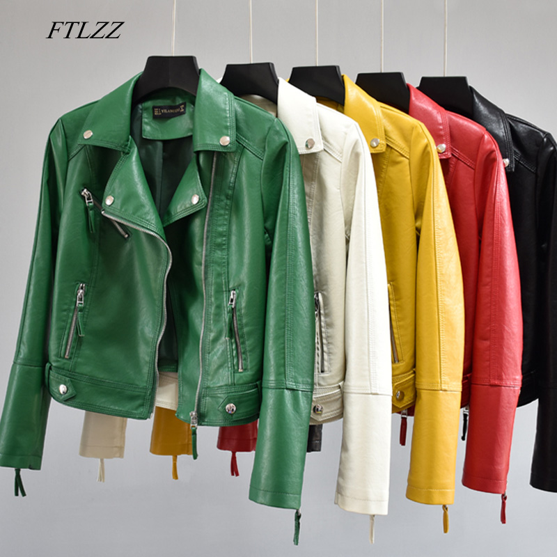 FTLZZ Women Autumn Pu Faux Soft Leather Motorcycle Zipper Jacket Coat Female Turndown Collar Slim Biker Coats Basic Streetwear