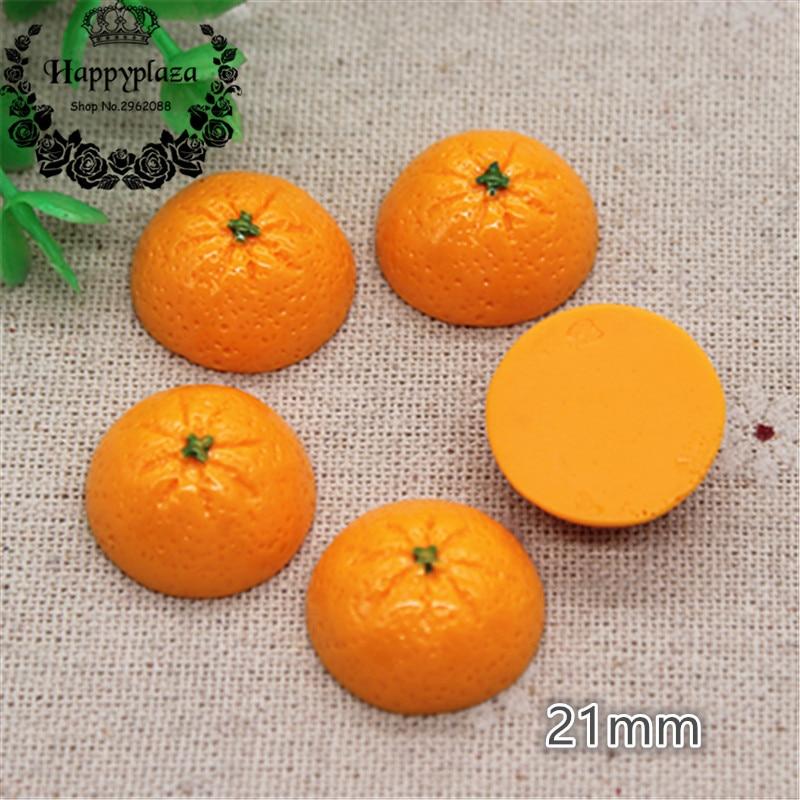 10pcs Cute New Resin Fruit Orange Simulation Miniature Food Art Flatback Cabochon DIY Craft Decoration,21mm