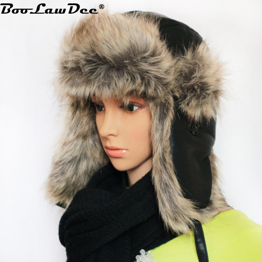 7bdef300db5758 Detail Feedback Questions about BooLawDee Winter Russian hat bomber adults  snow leisure aviator ear flaps for men women faux leather plus fur gray  brown ...