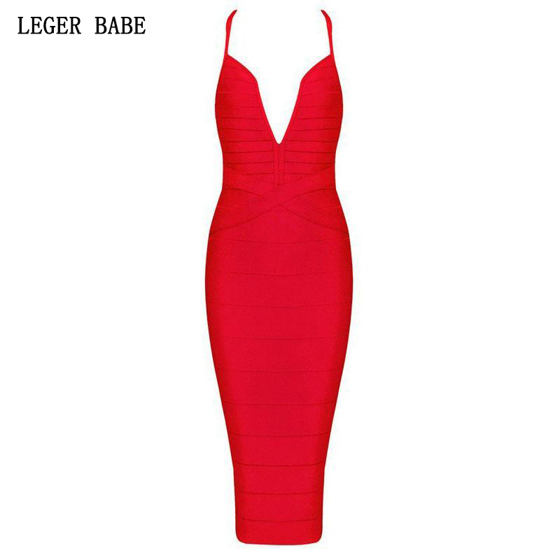 Leger Babe Bandage Party Dress Fashion Women Outfit Cocktail Halter Deep V Neck Bodycon Knee Length Sexy Dress 2019 New Arrvial