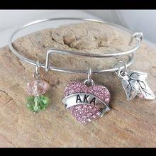 8dabc50e1 Drop shipping Alpha Kap Alpha Heart Charm Bangl for sister gift Jewelry  Sorority Bracelet
