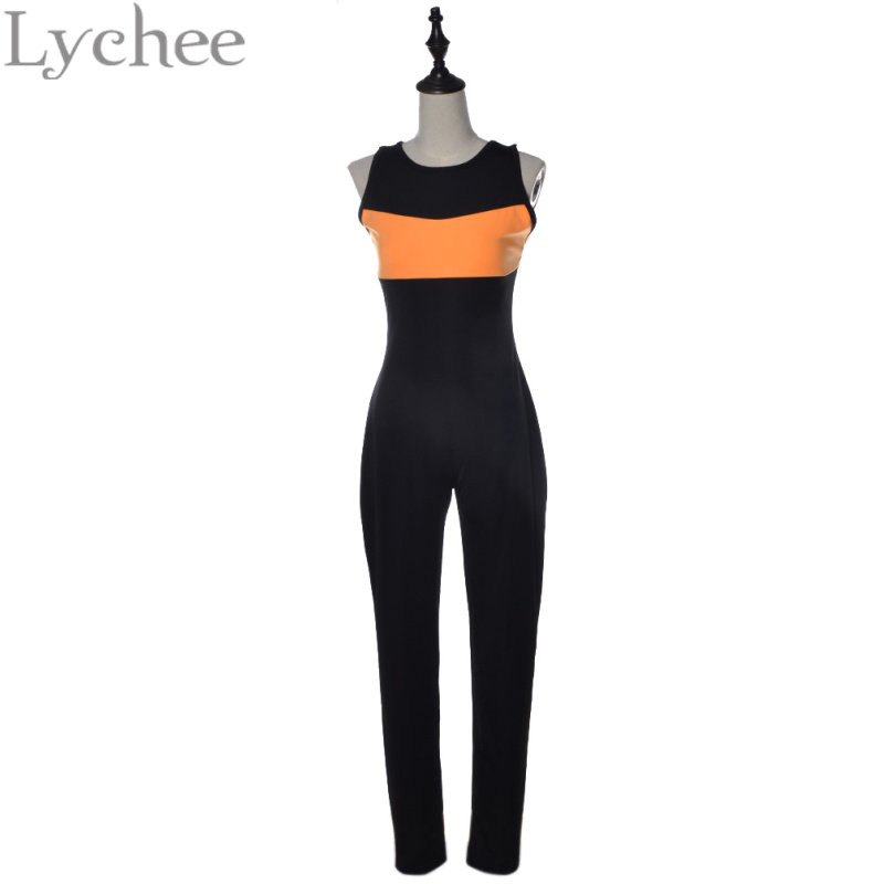 Lychee Fashion Lychee Casual Summer Women Playsuit Bandage Backless Long Bodycon Sleeveless Jumpsuit Overalls Romper