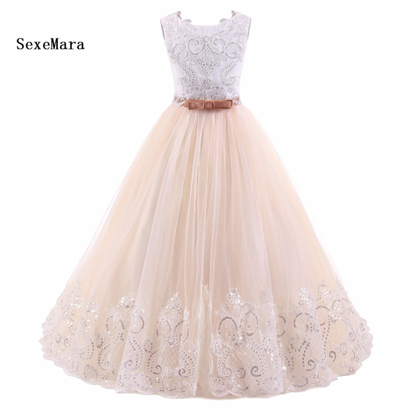 Real Picture 2018 Champagne White Flower Girl Dresses Sleeveless Ball Gown Kids Evening Gown vestido comunion Prom Dresses GirlsReal Picture 2018 Champagne White Flower Girl Dresses Sleeveless Ball Gown Kids Evening Gown vestido comunion Prom Dresses Girls