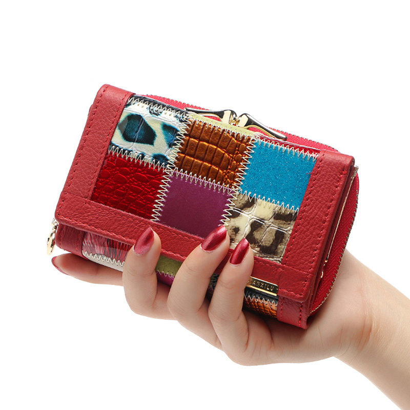 Brand wallet Fashion Splice pocket Casual Clutch purse Lolita style Luxury Leather portfolio Female multi card bit Short wallet