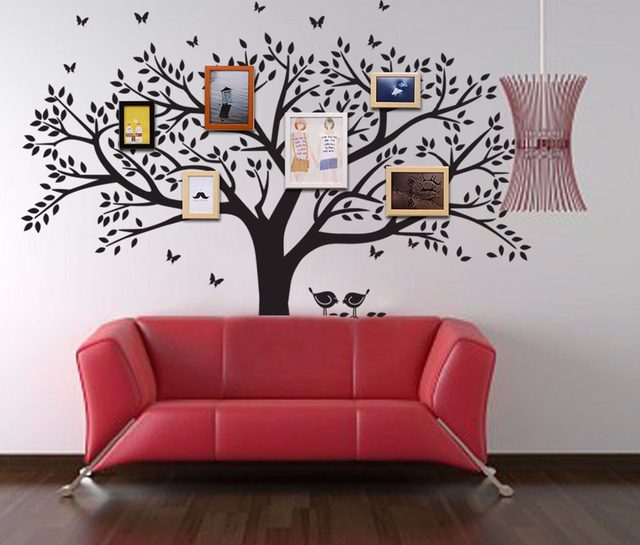 Large Family Tree Wall Decal Peel Stick Easy To Apply Decor Mural For Home  Bedroom Stencil Decoration DIY Photo Gallery Frame