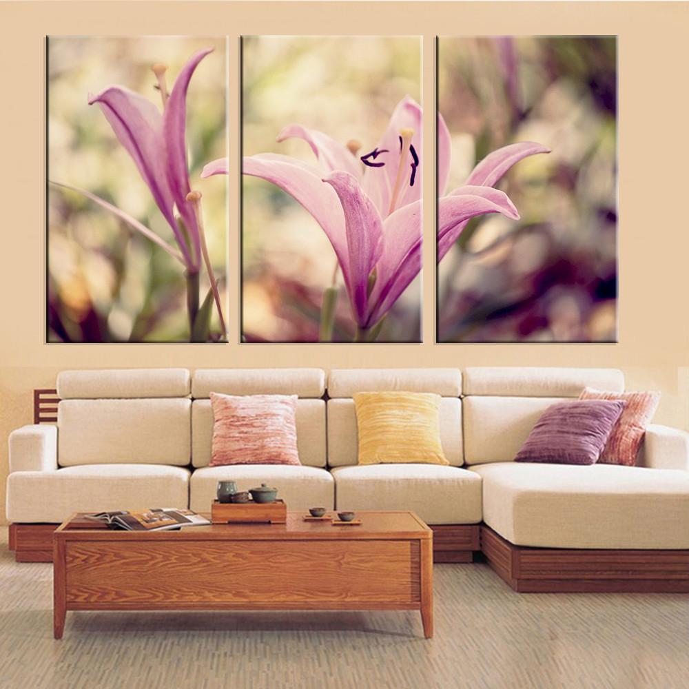 cuadro de la pared pintura prpura de la flor de pintura al leo de la lona