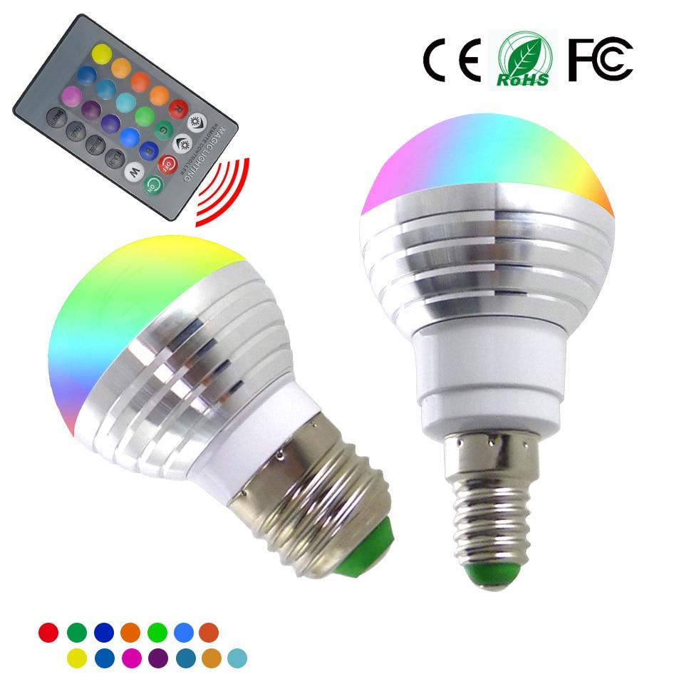 E14 e27 rgb lâmpada led 3 w 16 cor mutável led spotlight + 24 teclas ir controle remoto AC85-265V iluminação do feriado bombilla led