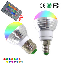 E14 E27 RGB LED Bulb 3W 16 Color Changeable Lamp LED Spotlight+24Keys IR Remote Control AC85-265V Holiday Lighting bombilla led