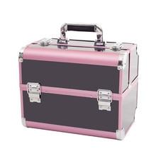 Модный женский профессиональный косметический чехол, Женский держатель, косметичка, розовый и черный, ПВХ косметичка, чемодан-органайзер, сумочка