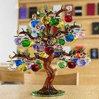Кристалл Стекло яблоня украшения 36 шт. висит яблоки домашний декор фэншуй фигурки Рождество ремесла подарки сувенир миниатюры