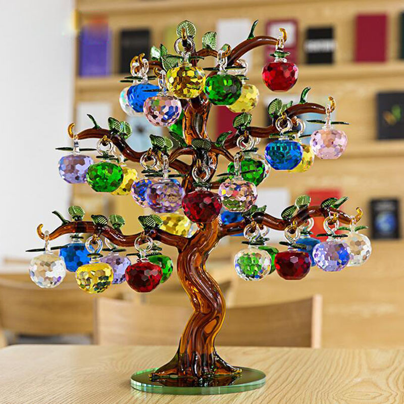 Crystal Glass Apple Tree Ornaments 36pcs Hanging Apples Home Decor Fengshui Figurines Christmas Crafts Gifts Souvenir Miniatures