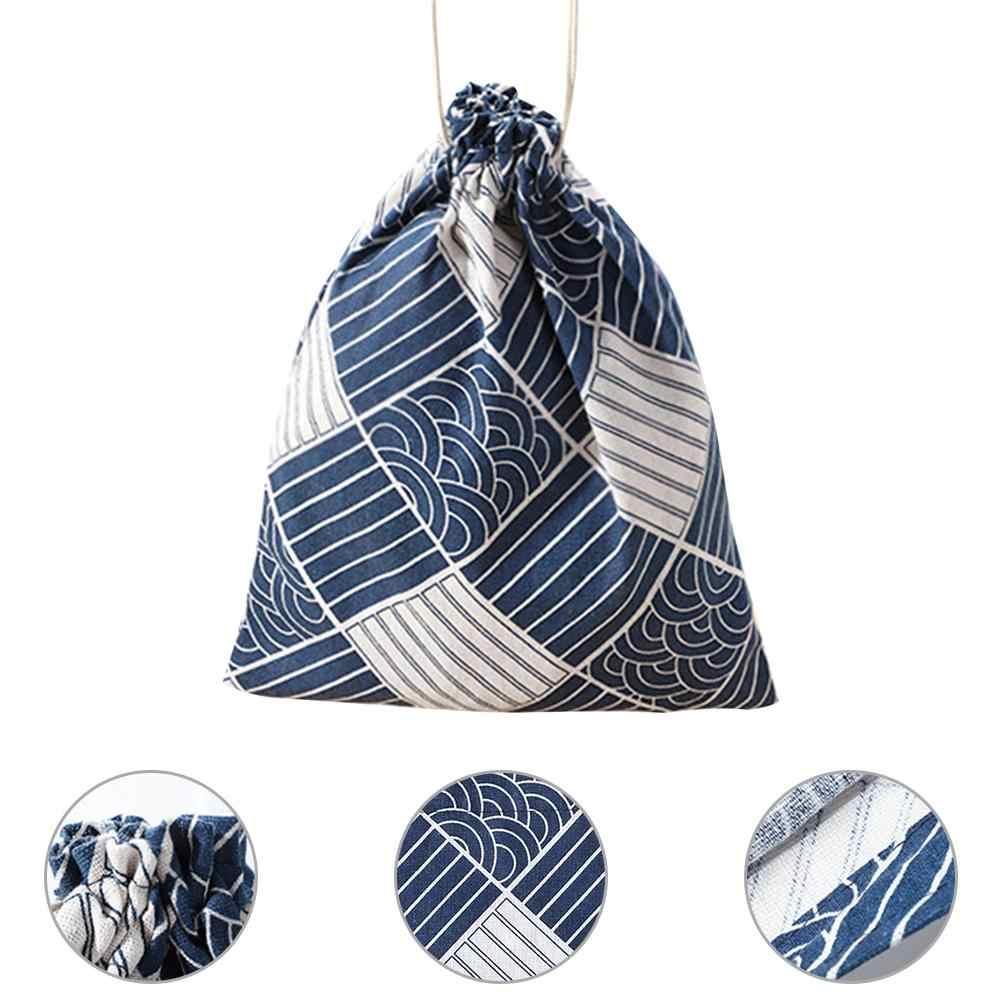 S/M/L de Algodão E Linho Impresso Bolso Viagens De Classificação Saco de Armazenamento De Cordão Almoço Pacote de Saco De Caixa De Doces sacos elegantes de Presente