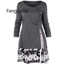 Большие размеры 5xl драпированные Цветочные Длинные рубашки