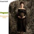 Adereços fotografia vestido de maternidade grávida gravidez maternidade design do vestido Shoulderless Voile mulheres fotografia