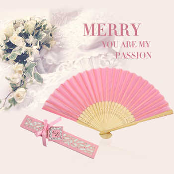 100PCS Satin Silk folding Hand Held Folding Bamboo Fans With Names for Summer Wedding Favor - DISCOUNT ITEM  10% OFF All Category