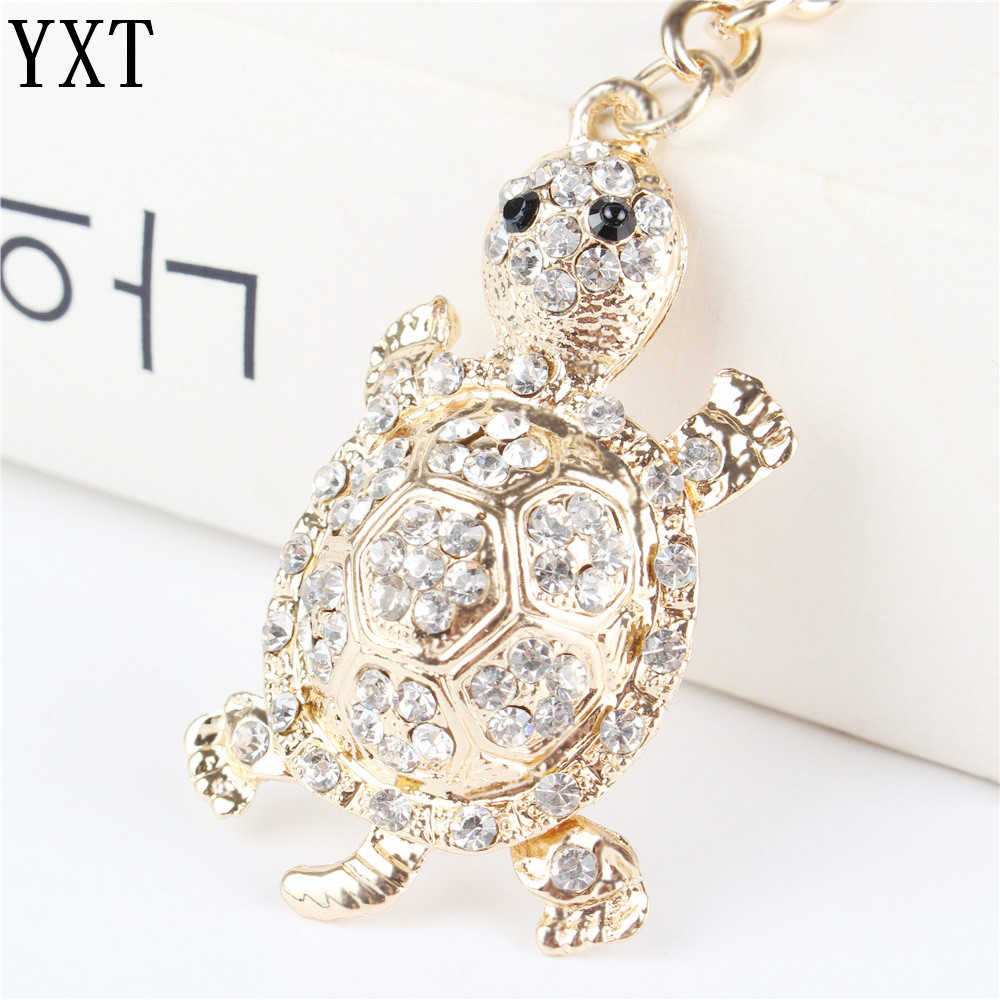 White Tortoise Turtle Pendant Charm Rhinestone Crystal Purse Bag Keyring Key Chain Accessories Wedding Friend Lover Gift