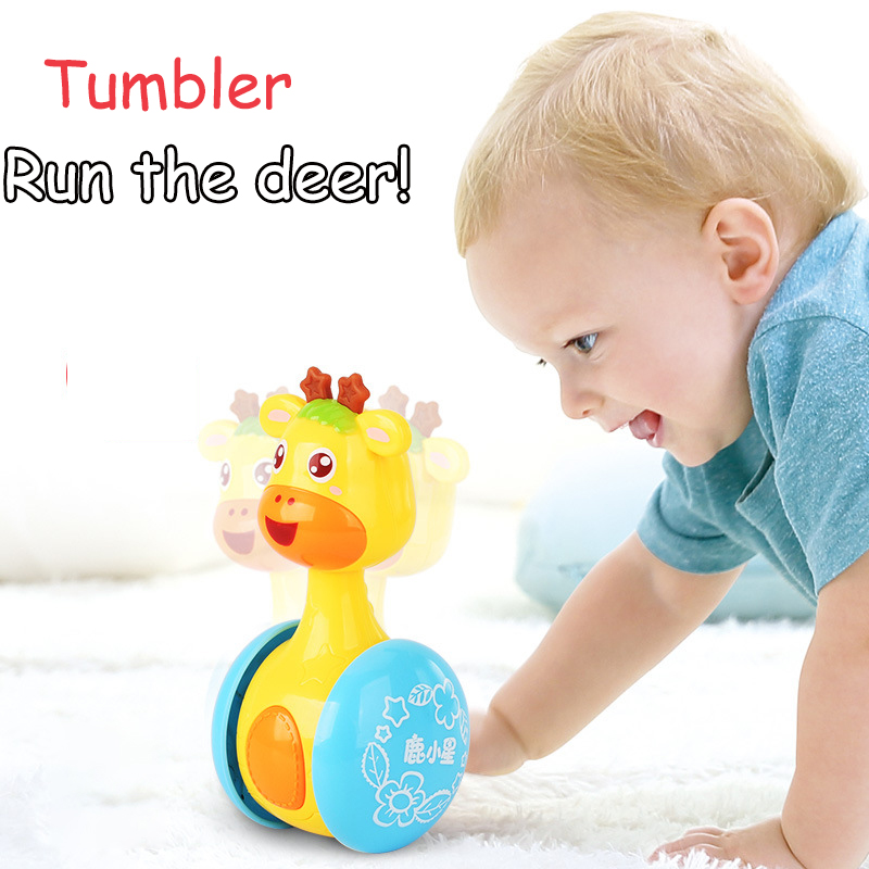 Baby Rattles Tumbler Doll Toys Bell Music Roly-poly Learning Education Toys Gifts For Baby Kid Children
