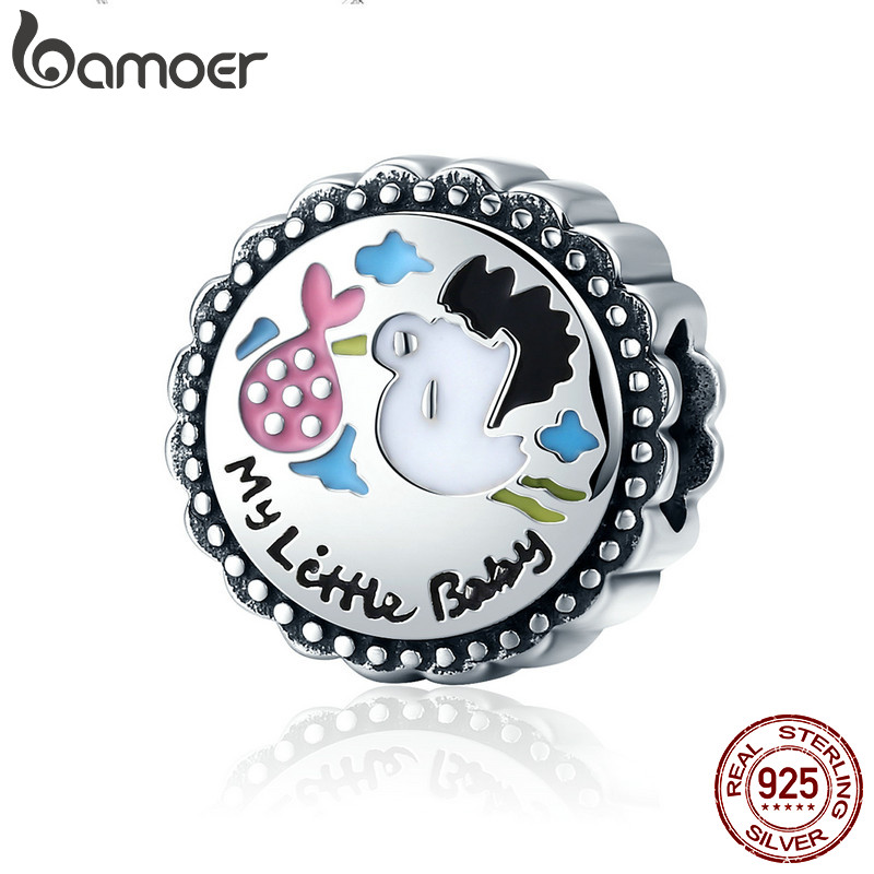 BAMOER Authentic 100% 925 Sterling Silver Little Baby Stork round Charm Beads fit Girl Charm Bracelet DIY Jewelry Making SCC504 stork