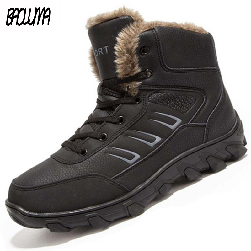 Genuine Leather Men Winter Boots Combat Ankle Boots Work Breathable Durable Men Army Forces Rubber Mid