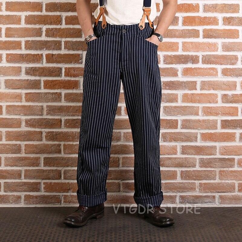 Vintage Rayures de Bronson Hommes Salopette Taille Haute Pantalon Cargo Casual Pantalon Foncé Bleu
