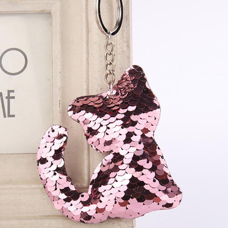 Cute Cat Keychain Glitter Pompom Sequins Key Ring Gifts For Women Llavero Chaveros Charms Car Bag Accessories Key Chain