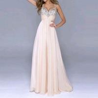 New Long Chiffon Boho Wedding Dress Evening Vintage Maxi Dresses Prom Pink Sequin Dress Vestido Festa