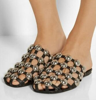 Hot Sale 2017 Amelia Studded Leather Caged Runway Flat Slide Cut-outs Slip-on Summer Casual Shoes Slingback Shoes For Ladies