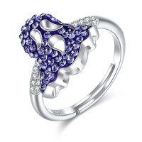 Retro Women Fine Rings 925 Sterling Silver Crystals Ring Vintage Blue Ghost 3A+ Zircon CZ Ring for Party Lady Free Size